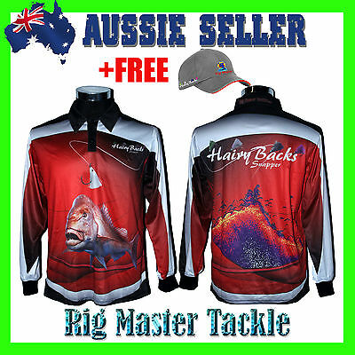 +FREE RMT CAP with Long Sleeve Snapper Fishing Polo Tournament Shirt + XS - 7XL