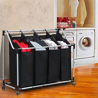 Laundry Trolley 4 Compartment Hamper Laundry Basket Washing Collection Sorter