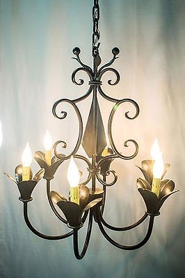 wroght iron Chandelier 6 lights Plastic candles Black