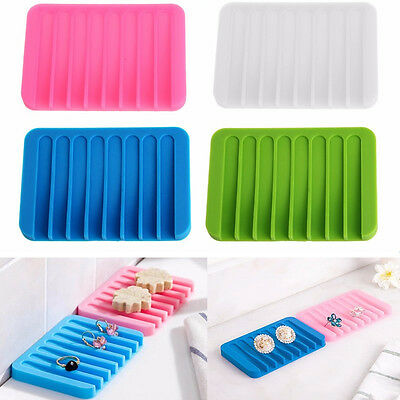 New Silicon Kitchen Bathroom Flexible Soap Dish Plate Holder Tray Soapbox