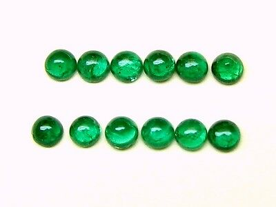 1.53 Carats Tol, Natural Loose Gem Lot /12 Pcs Round Cabochon Emeralds 3.0 MM