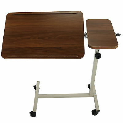 Overbed Table Over Bed Height Adjustable Tilting Home Mobile Non-Rolling Veneer