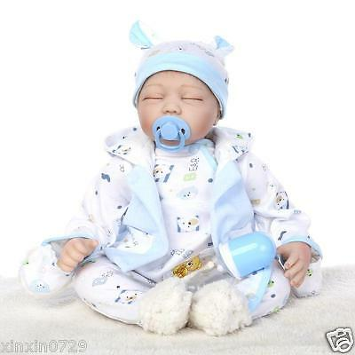"Real life sleeping Reborn Baby dolls 22"" Newborn Baby Vinyl Silicone Soft boy"
