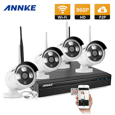 Annke Wireless 4CH NVR 960P 2000TVL Outdoor CCTV Camera Home Security System Kit