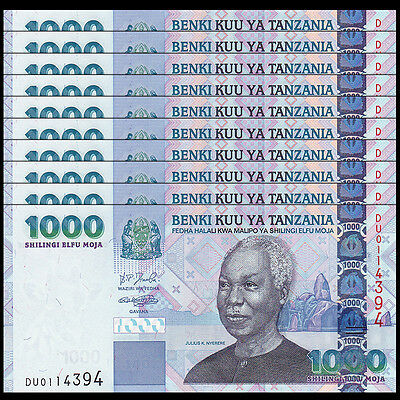 Lot 10 PCS, Tanzania 1000 1,000 Shillings, 2006, P-36b, UNC