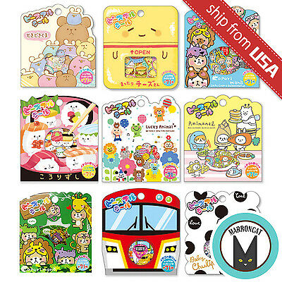 Lot 71 Japan Kawaii Cartoon Cat Bear Animal Sushi funny Sticker Flakes Seal Cute