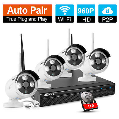 Annke Wireless wifi DVR Outdoor HD 960P 1.3MP Camera CCTV Security System 1TB UK