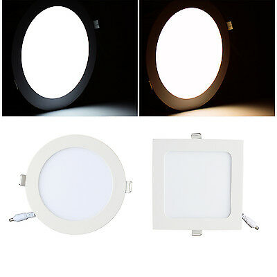 Recessed LED Panel Light 9W 12W Ceiling Down Lights Round Square 4/10 Pcs