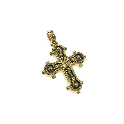 Byzantine Handmade 22k Yellow Gold, Black Hammered Cross