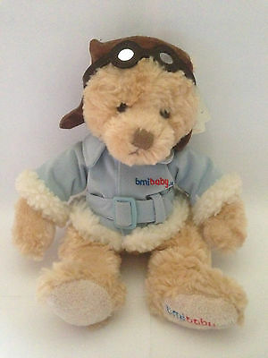 """Russ Captain Ted 10"""" Plush Soft Teddy Bear Pilot - Bmibaby Airline Promo - Nwt"""