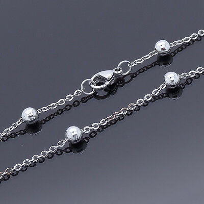 """Stainless Steel Anklets Smooth Bead Rolo Chain Ankle Bracelet 11"""" Inch SSA001-11"""
