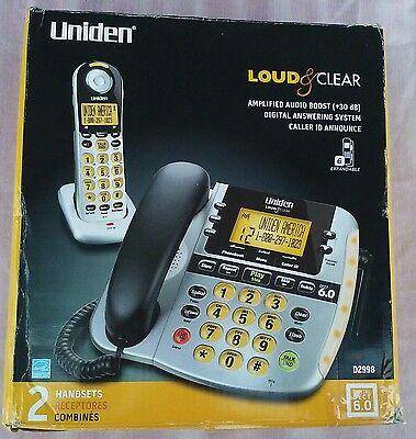 Uniden D2998 Loud & Clear Corded Phone Digital Answering Big Buttons  NOS
