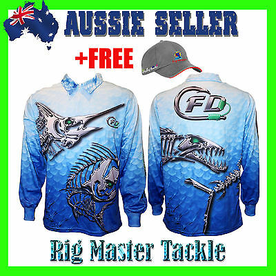 +FREE RMT CAP with Long Sleeve Scaled Fishing Polo Tournament Shirt S - 7XL