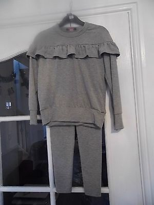 girls grey frill outfit/loungewear age 9-10