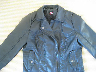 Exc. Con. Fabulous Girl's Black Leather Look Jacket Age 12-13 Yrs