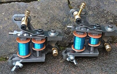 Pair Of Border Tattoo Machines Liner & Packer/shader Polished Iron Frames Coils