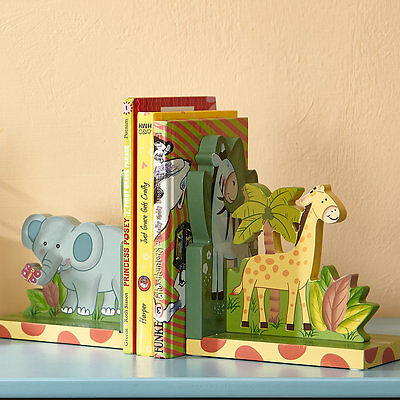 Teamson Fantasy Fields Safari Animals Hand Carved Wood Bookends Set for Kids