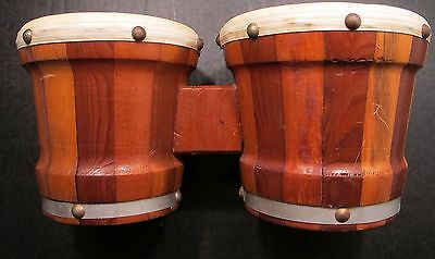 Vintage Bongos Gar Hand Drums  Leather Carved Wood Mexico Musical Instrument