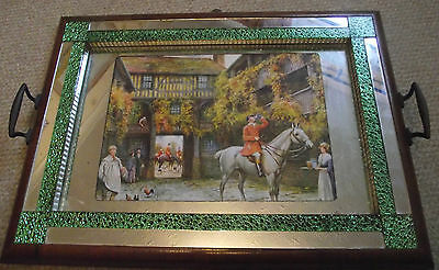 Vintage Crackle Glass Tray Hunting Huntsman Drinking Public House Scene Mirror