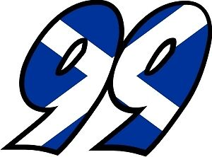 Scottish Flag Race Numbers Decals - 3 Sets Your Number