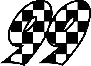 Checkered Flag Race Numbers Decals - 3 Sets Your Number