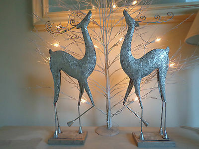 CHRISTMAS REINDEER SILVER PAIR OF DECORATIONS PAINTED METAL £15.99 for 1 Lovely!