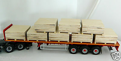 """1:50 Scale Handcrafted Wooden Pallets of Plywood, Full Load, Ideal Code 3, """"New"""""""