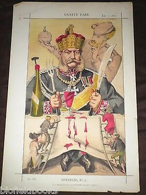The King of Prussia: Original Victorian Vanity Fair Print 1871 Sovereigns No 8