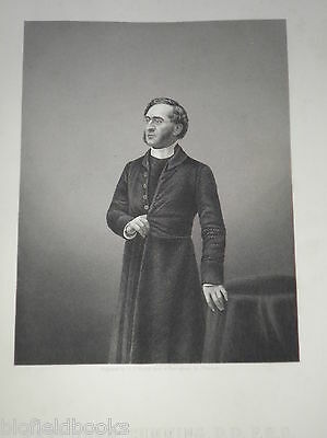 The Rev John Cumming: c1860 Original Antiquarian Portrait Engraving Victorian