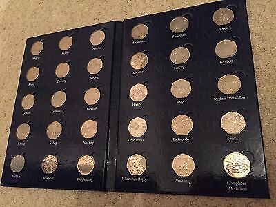 London 2012  Olympics 50p Coin Album  With All Coins & Completer Coin