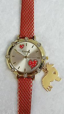 Shetland Sheepdog Sheltie Dog Charm, Watch Red and Gold