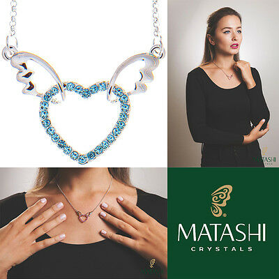 "16"" Rhodium Plated Necklace w/ Winged Heart Design & Blue Crystals by Matashi"