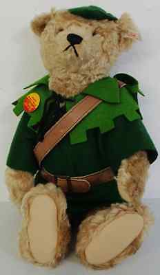 Steiff Mohair Bear Robin Hood Limited Edition With Certificate And Growler
