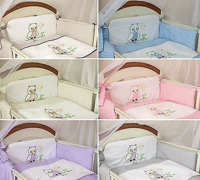 3 Pcs Baby Cot Cot bed Bumper Set Duvet Cover Pillowcase - Owl Embroidery