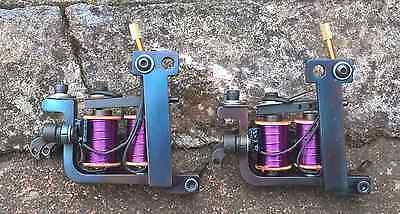 Pair Of Border Tattoo Machines Liner & Soft-Shader Blued Iron Frames Purple Coil