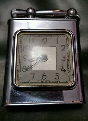 Rare Vintage Art Deco French Clock  Table Lighter