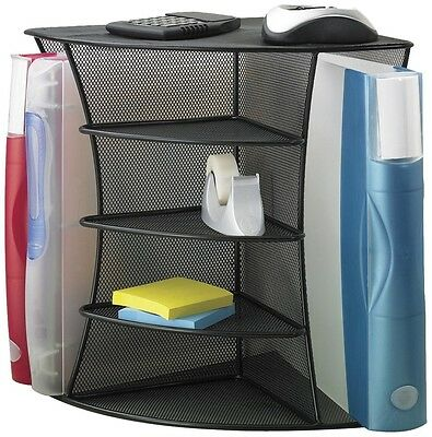 Desk Corner Mesh Office Organizer Paper Note Document letter Book Storage Black