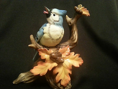 Blue Jay Bird Acorn Branch Figurine Porcelain