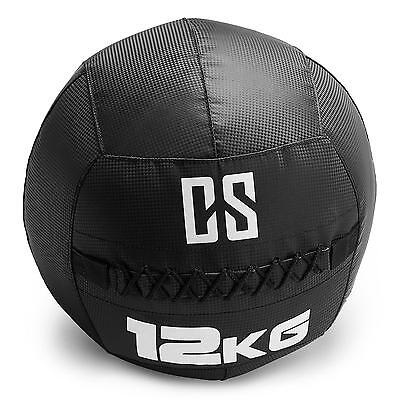 Capital Sports Medicine Ball Wall Excercise 12 Kg Weighted Black Cross Training