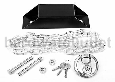 Black Steel Mitred Chain Anchor - Chain, Padlock, Bolts & Shear Nuts Included