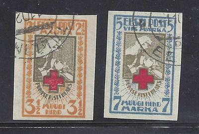 ESTONIA 1921 RED CROSS PAIR IMPERFORATE USED SG31A,32A cat £25
