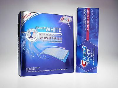 Superior Onuge Teeth Whitening Strips + Crest3D Glamorous Whitening Toothpaste