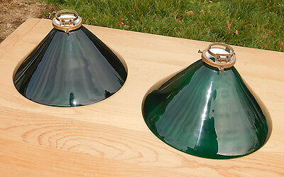 Lot of 2 Vintage Emeralite Cased Glass Shades, Emerald Green, White - 10 inches
