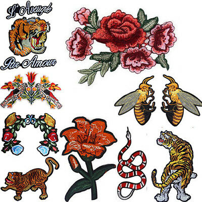 Tiger Snake Flower Back Patch Embroidered Applique Patch Motif Decoration Sew On