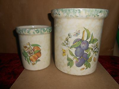 2 Himark Canisters Plum & Peach Design No Lids Made In Italy