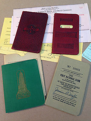 Lot of 4 Old Savings Bank Book Passbook 4 different Indiana 1943 - 1955
