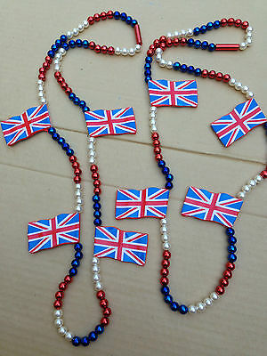 Lot of 2 Union Jack England UK Bead Necklaces Costume Mardi Gras New Years Party