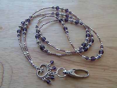 Beaded Purple Lanyard Necklace For ID Badge / Pass, Card Holder, Necklace.
