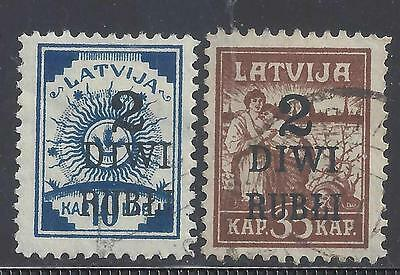 LATVIA 1920  2r. on 10k. BLUE  & 2r. on 35k. BROWN USED PAIR SG67/68 cat £20.50