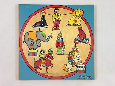 Vintage Wooden Puzzle Simplex Young Child Circus Jigsaw Puzzle Made in England